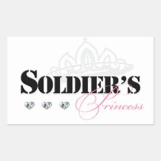 La princesa del soldado pegatina rectangular