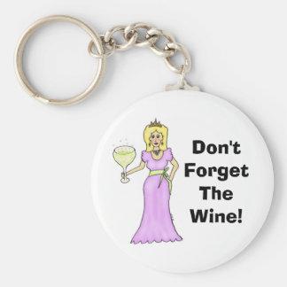 """La princesa del vino """"no olvida el vino """" llavero redondo tipo pin"""