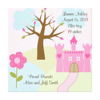 La princesa/el castillo/los sueños 16x16 estiraron impresión en lienzo