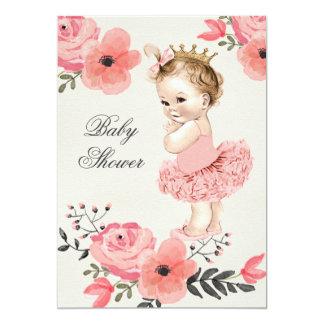 La princesa en acuarela del tutú florece la fiesta invitación 12,7 x 17,8 cm