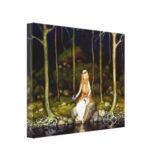 La princesa en el bosque impresión en lienzo estirada