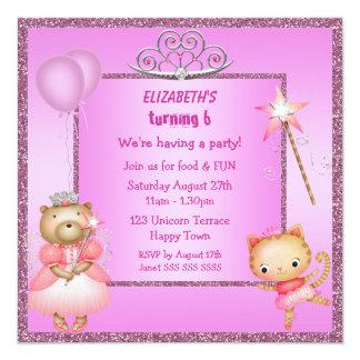 La princesa Kitty y oso, tiara y brillo invita Comunicado Personalizado