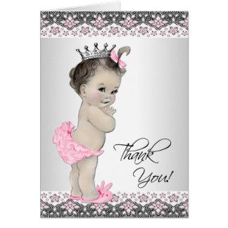 La princesa rosada fiesta de bienvenida al bebé le tarjeta pequeña