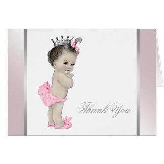 La princesa rosada niña le agradece tarjeta pequeña