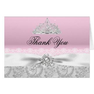 La princesa rosada Tiara y arco le agradece cardar Tarjeta Pequeña