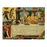 La princesa Shares su cena con la rana, de Postal
