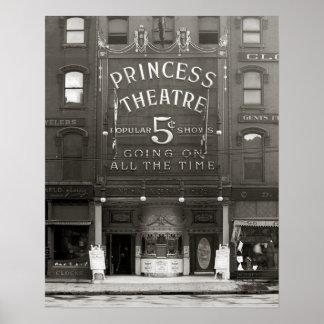 La princesa Theatre, 1910. Foto del vintage Póster
