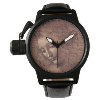 La principal femenino Scapigliata de Leonardo da Relojes