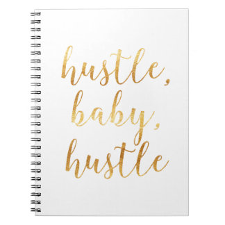 La prisa, bebé, da prisa el oro cursivo spiral notebooks