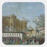 La prisión del Bastille, el 14 de julio de 1789 Pegatina Cuadradas