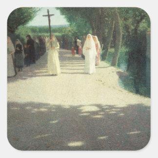 La procesión, 1892-95 pegatina cuadrada