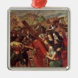 La procesión al Calvary, c.1505 Adorno Navideño Cuadrado De Metal