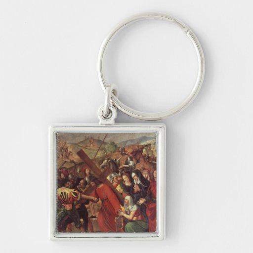 La procesión al Calvary, c.1505 Llavero Cuadrado Plateado