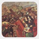 La procesión al Calvary, c.1505 Pegatina Cuadrada
