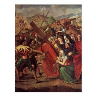 La procesión al Calvary, c.1505 Postal
