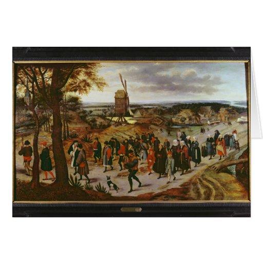 La procesión del boda tarjetón