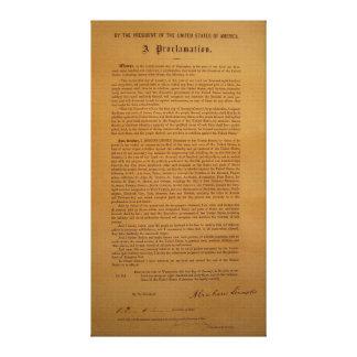 La proclamación de la emancipación compuso tipo de impresiones en lona