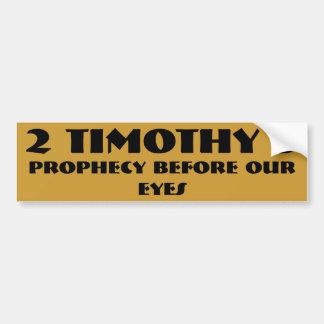 La profecía antes de hacia fuera observa etiqueta de parachoque