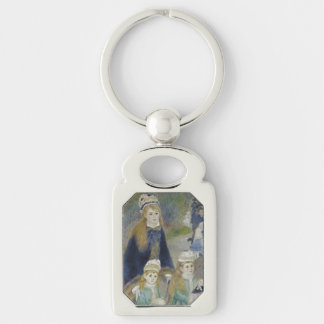 La Promenade by Pierre-Auguste Renoir Silver-Colored Rectangular Metal Keychain
