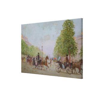 """La """"promenade"""" en el Champs-Elysees Impresión En Lona Estirada"""