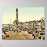 "La ""promenade"", obra clásica Photochr de Blackpool Póster"