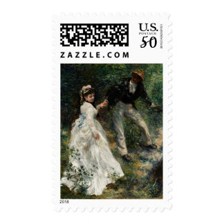La Promenade Renoir Couple Walking Painting Art Postage