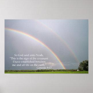 La promesa de dios a Noah en el arco iris Póster