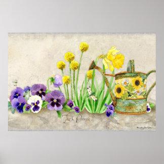 La promesa de la primavera - acuarela moderna flor póster
