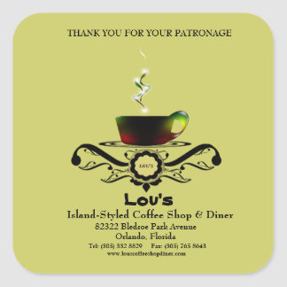 la promoción del negocio del comensal de Cafe'//le Calcomanía Cuadrada