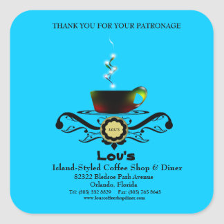 la promoción del negocio del comensal de Cafe'//le Calcomanias Cuadradas