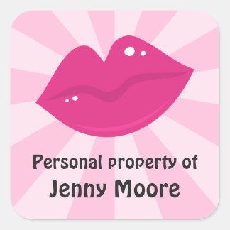 La propiedad personal de los labios retros del calcomania cuadradas personalizada