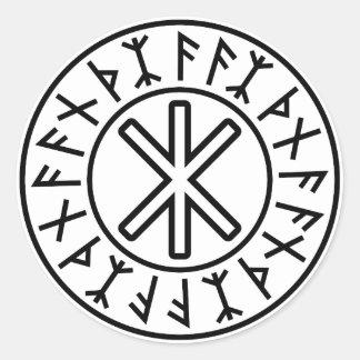 La protección No.2 (negro) de Odin Pegatina Redonda