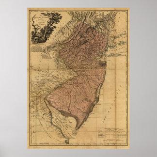 La provincia del mapa de New Jersey (1777) Póster