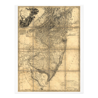 La provincia del mapa de New Jersey (1778) Membrete A Diseño