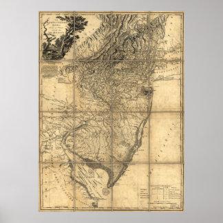 La provincia del mapa de New Jersey (1778) Póster