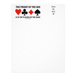 La prueba de la oferta consiste en jugar de la man membretes personalizados