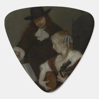 La púa de guitarra de la lección de música