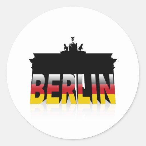 La puerta de Brandeburgo en Berlín (Alemania) Pegatina Redonda