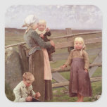 La puerta de Dalby, Skane, 1884 Pegatina Cuadrada