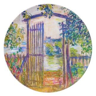 La puerta de jardín en Vetheuil Claude Monet Plato Para Fiesta