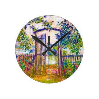 La puerta de jardín en Vetheuil Claude Monet Relojes De Pared