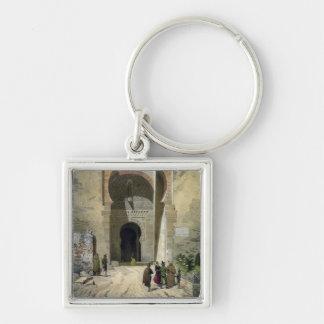 La puerta de la justicia, entrada a Alhambra, Gra Llavero Cuadrado Plateado