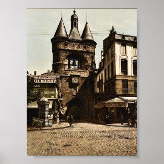 La puerta de reloj, vintage Photochro de Burdeos,  Póster