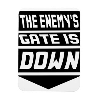 La puerta del enemigo está abajo imán de vinilo