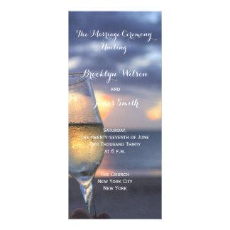 La puesta del sol de encargo en el boda de playa tarjeta publicitaria personalizada