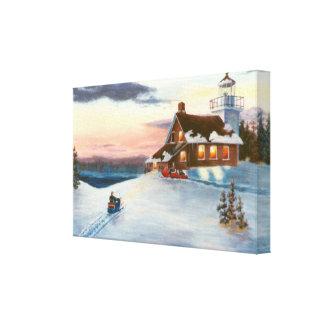 La puesta del sol de la estrella polar envolvió la lona envuelta para galerias