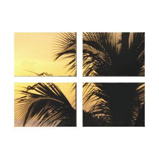 La puesta del sol de la palmera, patio envolvió la lona estirada galerias