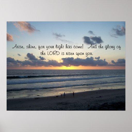 La puesta del sol de la playa se presenta impresió póster