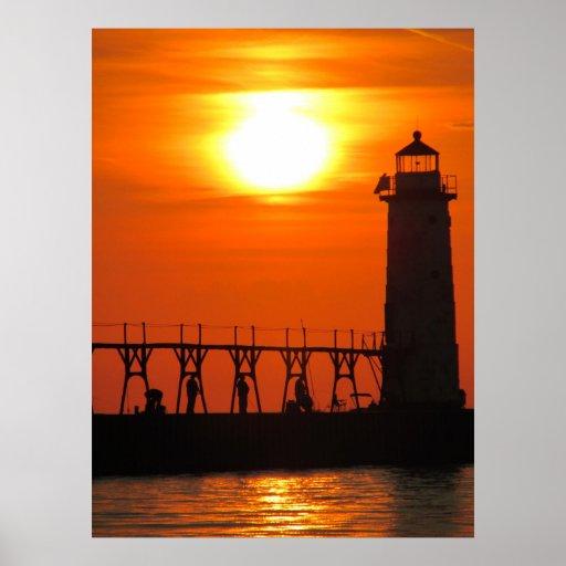 La puesta del sol de un Michigan Póster