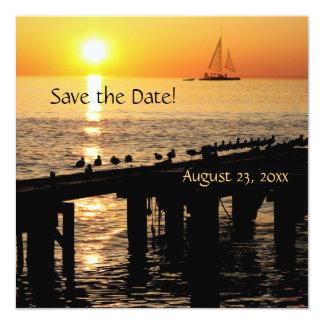 """la puesta del sol del océano con las gaviotas invitación 5.25"""" x 5.25"""""""